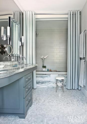 beautiful blue bathroom with marble and oversized shower curtains... Bathroom Decor Ideas: Luxurious Shower Curtains from Bathroom Bliss by Rotator Rod