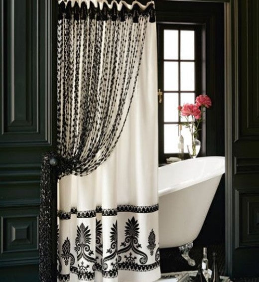 Elegant Black And White Bathroom... Bathroom Decor Ideas: Luxurious Shower  Curtains From