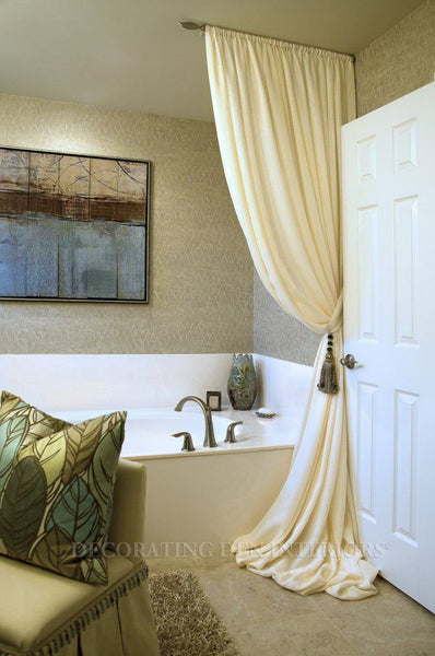 stunning bathroom with white shower curtain pooling on the floor, painting... Bathroom Decor Ideas: Luxurious Shower Curtains from Bathroom Bliss by Rotator Rod
