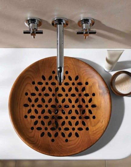 beautiful handcrafted wood sink with delicate flower pattern... Bathroom Design Ideas: Beautiful Sink Inspiration from Bathroom Bliss by Rotator Rod