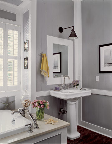large gray & white bathroom with white accents and flowers... Bathroom Design Trends: Gorgeous Gray Inspiration