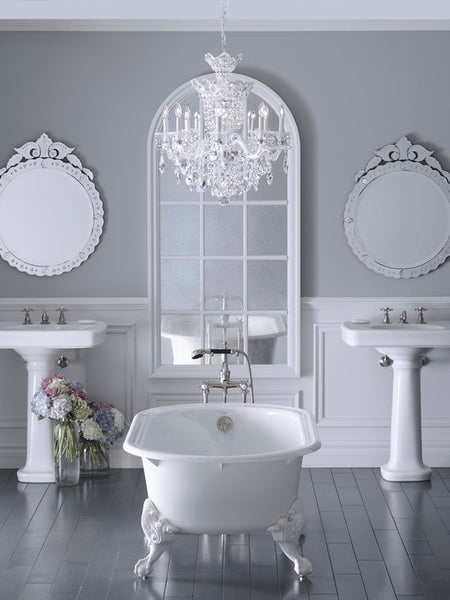 big gray & white bathroom with freestanding tub, pedestal sinks, mirror & fresh flowers... Bathroom Design Trends: Gorgeous Gray Inspiration