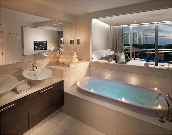 Beautiful White U0026 Dark Wood Bathroom With Big Bathtub And Beautiful Miami  View.