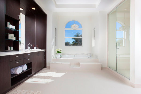stunning white and dark wood modern Miami bathroom with beautiful view... Bathroom Design Trends: Miami Style from Bathroom Bliss by Rotator Rod