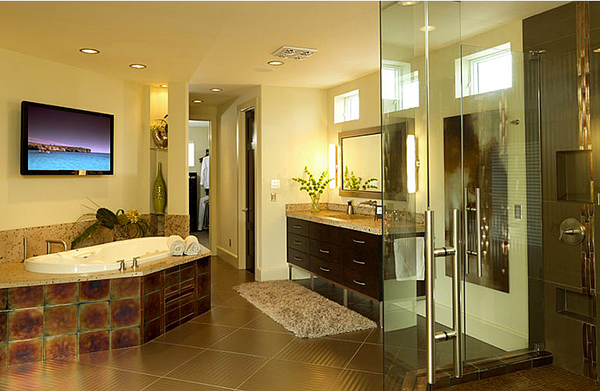 high-tech Miami bathroom with brown tile... Bathroom Design Trends: Miami Style from Bathroom Bliss by Rotator Rod