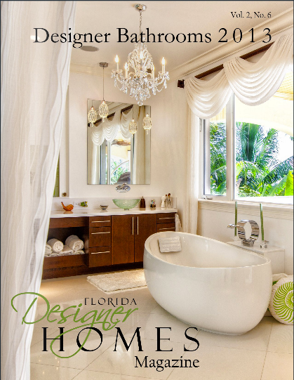 beautiful white bathroom with modern freestanding bathtub, chandelier, & tropical view... Bathroom Design Trends: Miami Style from Bathroom Bliss by Rotator Rod
