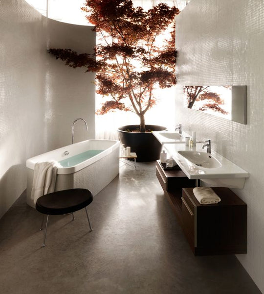 large modern bathroom with beautiful tree... Bathroom Style Trends: Bathroom Plant Ideas from Bathroom Bliss by Rotator Rod