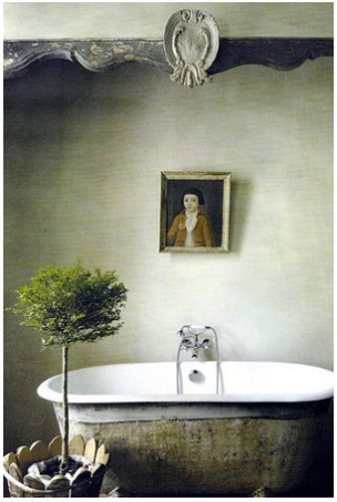 free standing bathtub with topiary tree and painted portrait... Bathroom Style Trends: Bathroom Plant Ideas from Bathroom Bliss by Rotator Rod