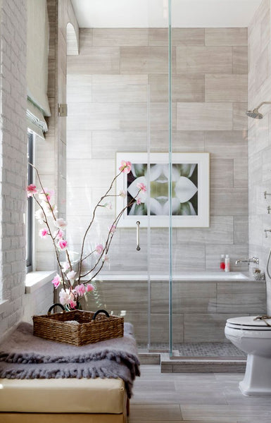 beautiful gray tiled bathroom featuring orchids... Bathroom Style Trends: Bathroom Plant Ideas from Bathroom Bliss by Rotator Rod