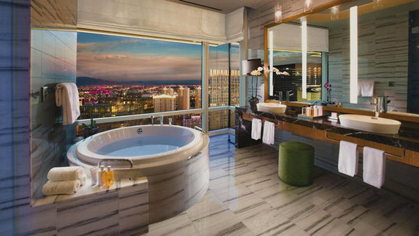 luxurious Las Vegas bathroom with jet tub and city views... Beautiful Bathroom Inspiration: Big City Style