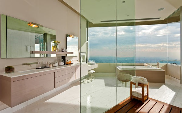 large, luxurious open bathroom with shower, bathtub, large windows and beautiful city views... Beautiful Bathroom Inspiration: Big City Style