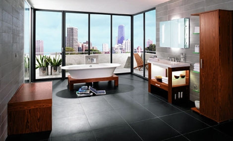large, luxurious bathroom with freestanding tub, dark tile, cherry wood accents, downtown view... Beautiful Bathroom Inspiration: Big City Style