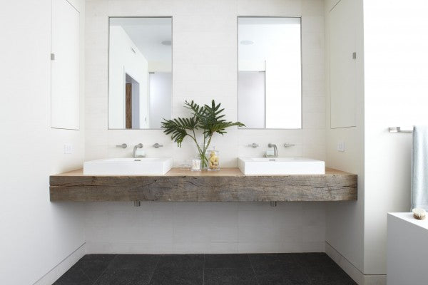 white master bathroom with modern square sinks and reclaimed wood vanity top... Beautiful Bathroom Inspiration: Contemporary Rustic Design from Bathroom Bliss by Rotator Rod
