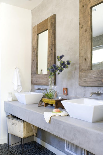 modern rustic bathroom with stone vanity top, wooden framed mirrors... Beautiful Bathroom Inspiration: Contemporary Rustic Design from Bathroom Bliss by Rotator Rod