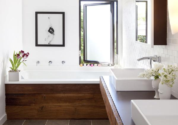 white bathroom with rustic wood cabinetry... Beautiful Bathroom Inspiration: Contemporary Rustic Design from Bathroom Bliss by Rotator Rod