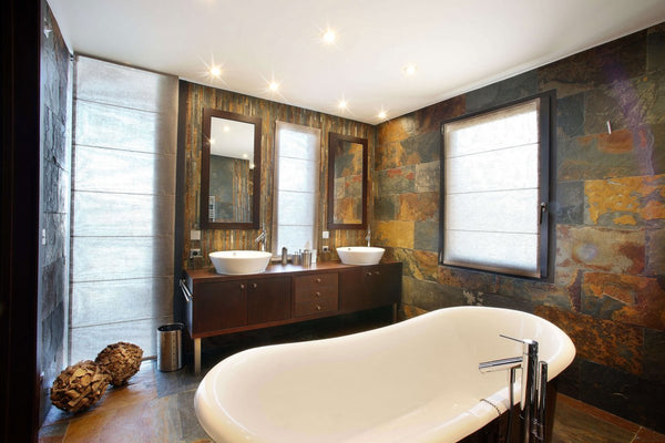 large modern rustic master bathroom with freestanding bathtub and slate walls... Beautiful Bathroom Inspiration: Contemporary Rustic Design from Bathroom Bliss by Rotator Rod