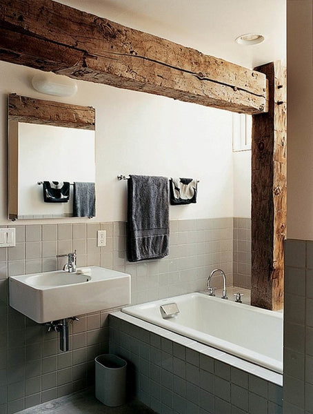 bathroom with modern bathroom accessories and exposed rustic wood beams... Beautiful Bathroom Inspiration: Contemporary Rustic Design from Bathroom Bliss by Rotator Rod