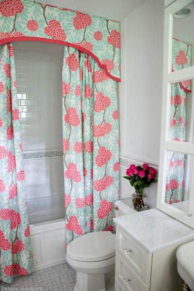 white bathroom with bright pink and blue flower valance with double shower curtains... Beautiful Bathroom Inspiration: Contemporary Shower Curtain Ideas from Bathroom Bliss by Rotator Rod