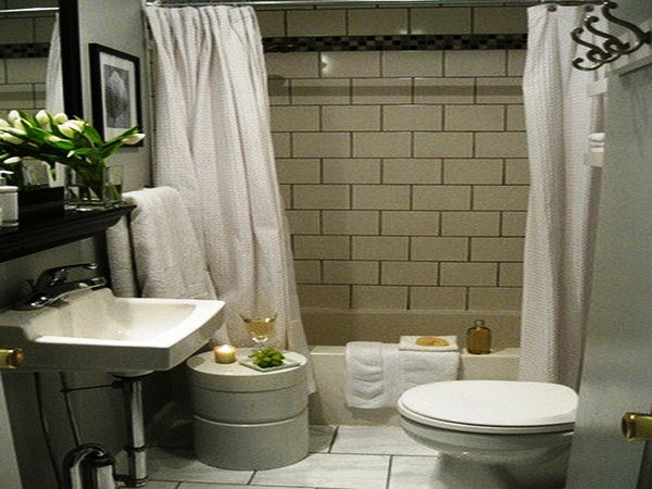 luxurious gray bathroom with two white shower curtains... Beautiful Bathroom Inspiration: Contemporary Shower Curtain Ideas from Bathroom Bliss by Rotator Rod