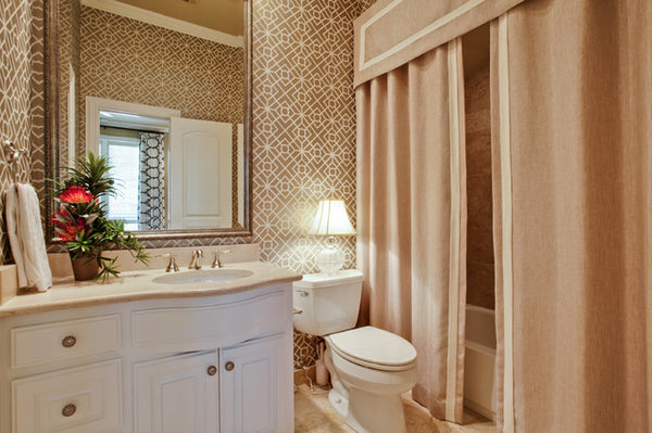 gold toned bathroom with luxurious valance and double shower curtains... Beautiful Bathroom Inspiration: Contemporary Shower Curtain Ideas from Bathroom Bliss by Rotator Rod
