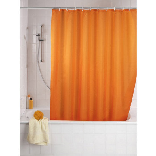 bright orange shower curtain perfect for Halloween... Beautiful Bathroom Inspiration: Fall Decorating Ideas from Bathroom Bliss by Rotator Rod