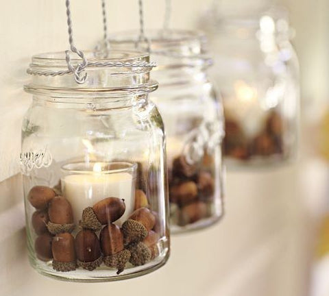 acorns and small votive candles in jars... Beautiful Bathroom Inspiration: Fall Decorating Ideas from Bathroom Bliss by Rotator Rod
