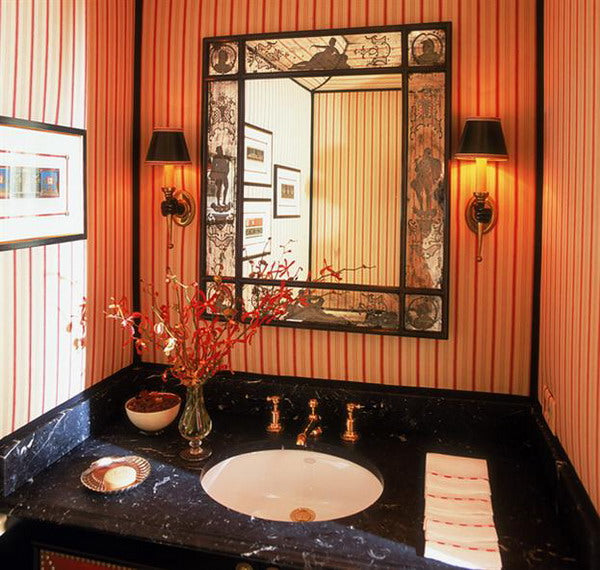 orange striped bathroom with dark marble vanity... Beautiful Bathroom Inspiration: Fall Decorating Ideas from Bathroom Bliss by Rotator Rod