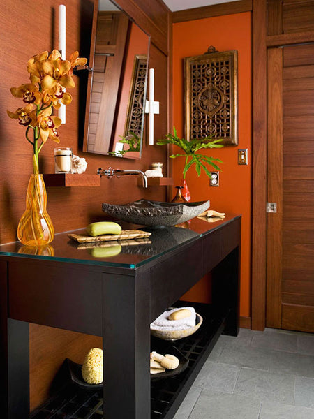 zen-inspired bathroom the color of autumn leaves... Beautiful Bathroom Inspiration: Fall Decorating Ideas from Bathroom Bliss by Rotator Rod