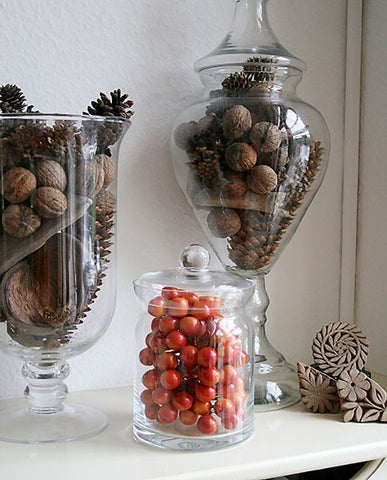cranberries, pine cones in glass jars... Beautiful Bathroom Inspiration: Fall Decorating Ideas from Bathroom Bliss by Rotator Rod