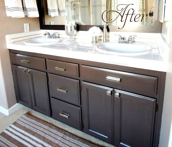 Beautiful Bathroom Vanity With Dark Cabinets, Silver Accents... Easy Bathroom  Updates For