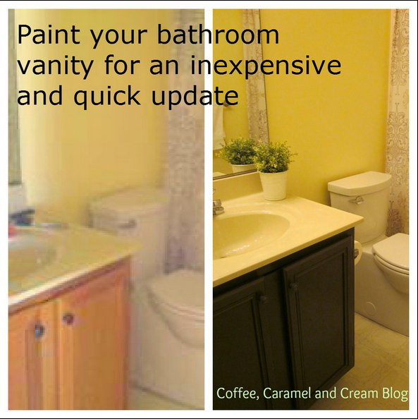 DIY painted bathroom cabinet update... Easy Bathroom Updates for a More Luxurious Rental Apartment