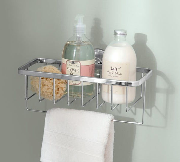 floating shower caddy with luxurious body products... Give the Gift of Bathroom Space for the Holidays from Bathroom Bliss by Rotator Rod