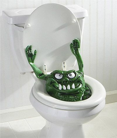 pop up Toilet Monster that hides beneath the toilet lid to give people a scare!... Halloween Decorating Ideas for Small Bathrooms from Bathroom Bliss by Rotator Rod