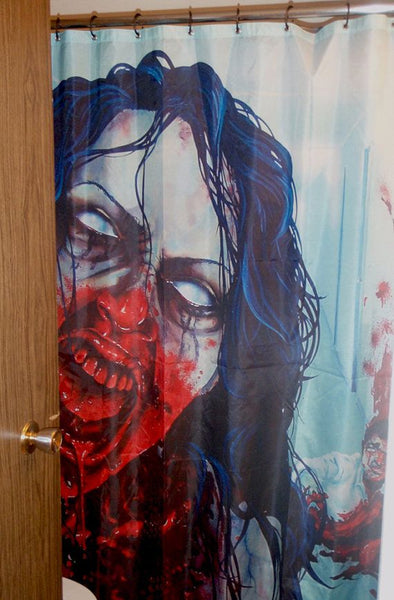bloody zombie shower curtain... Halloween Decorating Ideas for Small Bathrooms from Bathroom Bliss by Rotator Rod