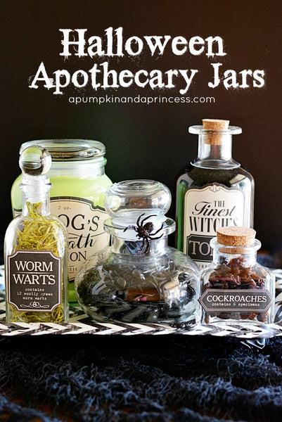 DIY Halloween apothecary jars to leave out on the bathroom vanity... Halloween Decorating Ideas for Small Bathrooms from Bathroom Bliss by Rotator Rod
