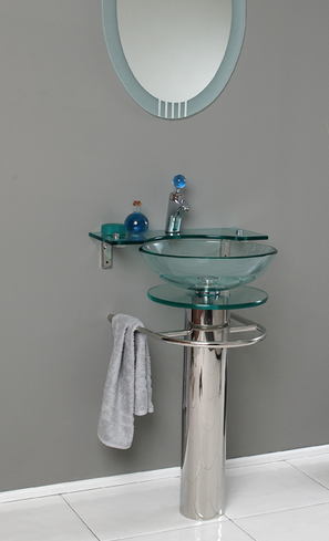 modern silver and glass bathroom vanity with glass vessel sink... Hottest Space-Saving Bathroom Trends for 2015 from The Bathroom Bliss Blog