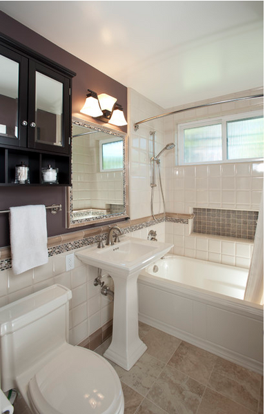 white and dark purple bathroom with silver accents... Hottest Space-Saving Bathroom Trends for 2015 from The Bathroom Bliss Blog