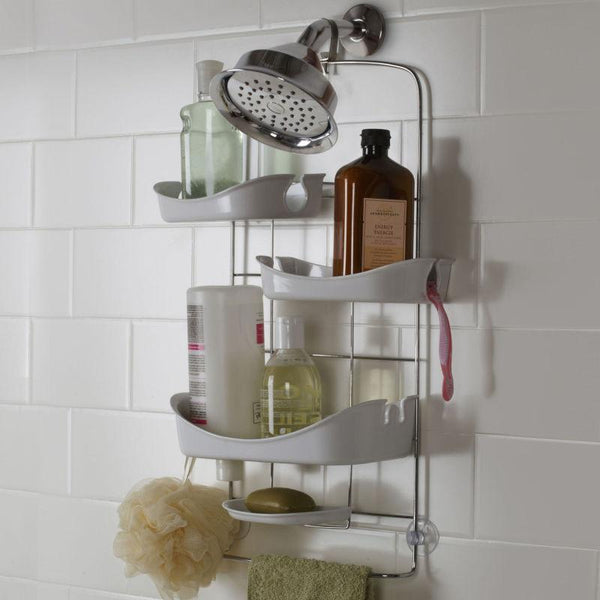 a guest bathroom shower caddy full of shower products... Prepare for Holiday House Guests with a Well Stocked Guest Bathroom from The Bathroom Bliss Blog by Rotator Rod