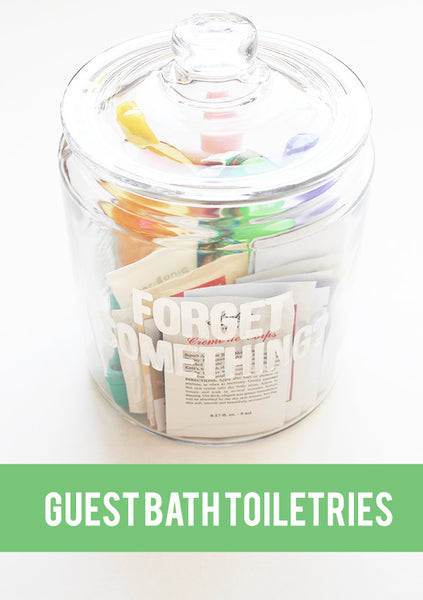 DIY guest bath jar full of bathroom samples and travel size toiletries... Prepare for Holiday House Guests with a Well Stocked Guest Bathroom from The Bathroom Bliss Blog by Rotator Rod