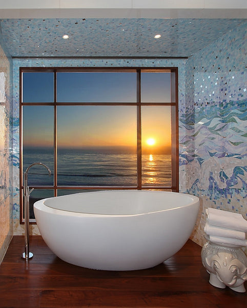 gorgeous blue and white mosaic bathroom with oversized tub and view of the ocean at sunset... Inspiration in Rotation: Summer-Inspired Bathrooms from Bathroom Bliss by Rotator Rod