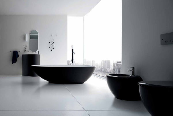 sleek black and white bathroom with a city view... Modern Bathroom Inspiration from Bathroom Bliss by Rotator Rod