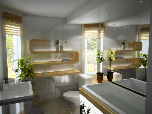 white modern bathroom with large mirror, plants, funky shelves, and wood accents... Modern Bathroom Inspiration from Bathroom Bliss by Rotator Rod