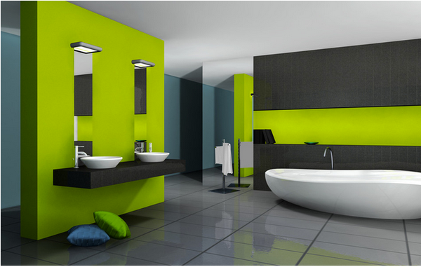 bright green and gray modern bathroom... Modern Bathroom Inspiration from Bathroom Bliss by Rotator Rod