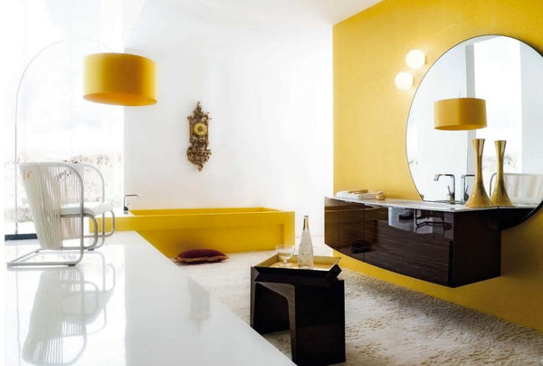 yellow modern bathroom with square bathtub and round mirror... Modern Bathroom Inspiration from Bathroom Bliss by Rotator Rod
