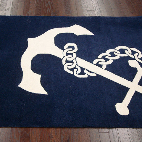blue and white boat anchor bath mat... Nautical Bath Mats Perfect for a Seaside Summer from Bathroom Bliss by Rotator Rod
