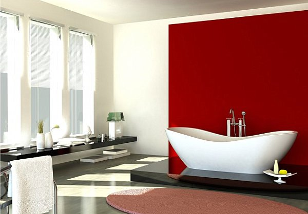 large modern white bathroom with freestanding white bathtub against red accent wall... Red Bathroom Inspiration from Bathroom Bliss by Rotator Rod