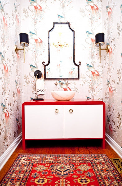 contemporary small bathroom with Asian wallpaper, red and white bathroom cabinet with marble vessel sink, oriental rug, sconces... Red Bathroom Inspiration from Bathroom Bliss by Rotator Rod