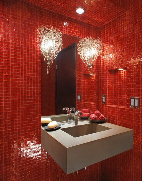 small bathroom with red tile, modern branch sconces, gray sink... Red Bathroom Inspiration from Bathroom Bliss by Rotator Rod