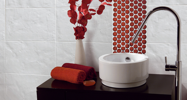 Red bathroom inspiration rotator rod for Red accent bathroom