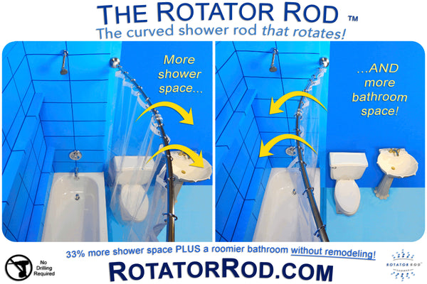 Love the idea of a curved shower rod & more shower space but realized any space you gain in the shower is lost in the bathroom? Check out the Rotator Rod! It's the original curved shower rod that rotates for a 33% larger shower PLUS a roomier bathroom... Trending in Home Decor: Winter Bathroom Inspiration from Bathroom Bliss by Rotator Rod